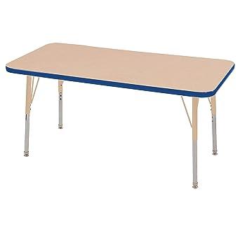 Amazon Com Ecr4kids Mesa Premium 24 X 48 Rectangular School Activity Table Standard Legs W Swivel Glides Adjustable Height 19 30 Inch Maple Blue Sand Industrial Scientific
