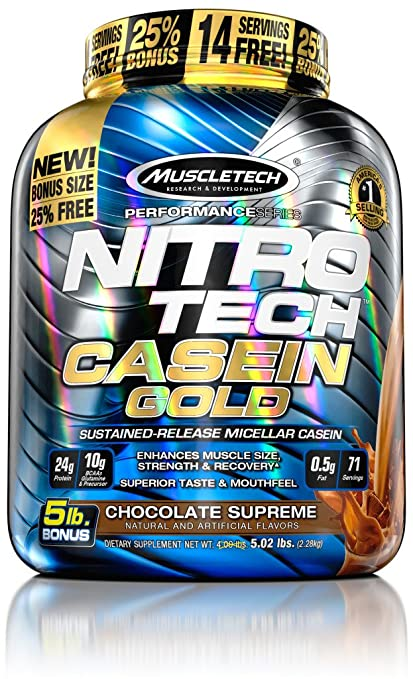 MuscleTech Nitro Tech Casein Gold 100% Protein Powder Chocolate Supreme, 5 Pound