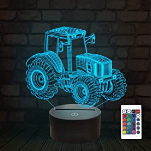 3D Illusion Lamp, Tractor Car 3D Night Light for Kids with 16 Colors Changing Remote Control, Bedroom Decor Creative Birthday Gifts for Boys Kids Baby