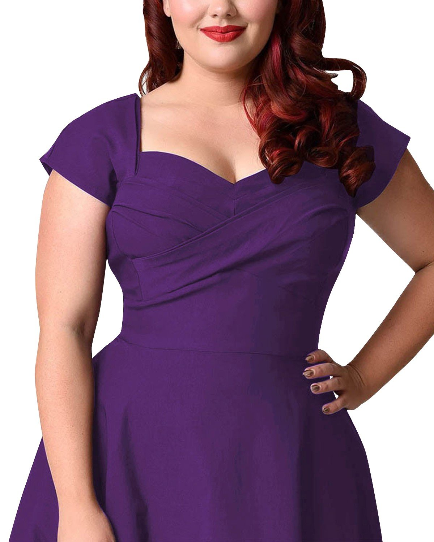 76c81a00e9 ... ABYOXI Damen Vintage A-Linie 50er Retro Rockabilly Kleid Knielang  Abendkleid Große Größen TKU000657- ...