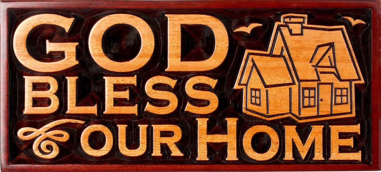 Very God Bless Our Home House Christian plaque wooden 20cm: Amazon.co  PJ83
