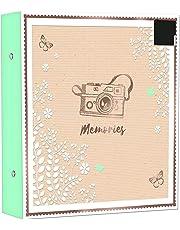 Album portafoto, raccoglitore ad anelli, contiene fino a 500 foto (formato 15 x 10 cm), decorato con lamina d'oro e adesivo per le didascalie rimuovibile, 4x6ins (10x15cm)