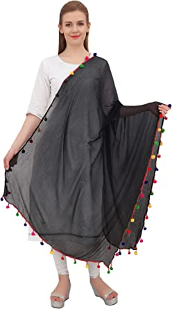 Dupatta Bazaar Indian Phulkari Embroidered Chiffon Dupatta Stole for Women//Designer Ethnic Lace Border Scarf Shawl//Chunni