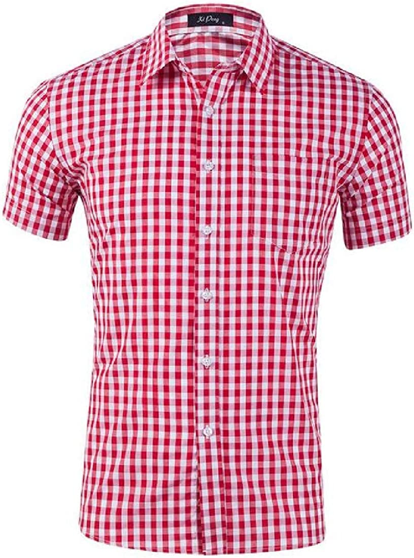 Mstyle Men Button Down Loose Formal Plaid Printed Short Sleeve Dress Shirt Top
