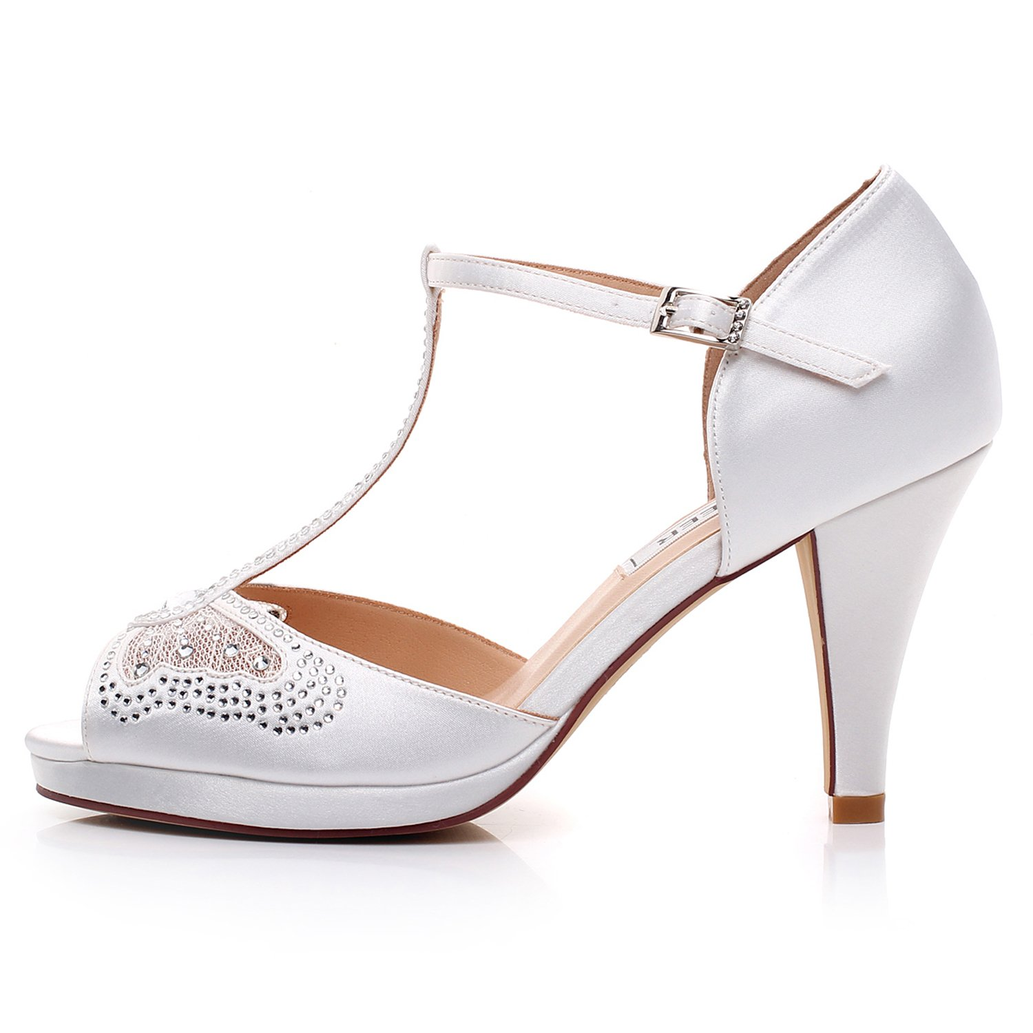LUXVEER Wedding Sandals Heels for Women ,Silver Rhinestone and Lace Butterfly - Heels 3.5 inch-HK-0192C-Ivory-EU40 Wedding Shoes by LUXVEER (Image #5)