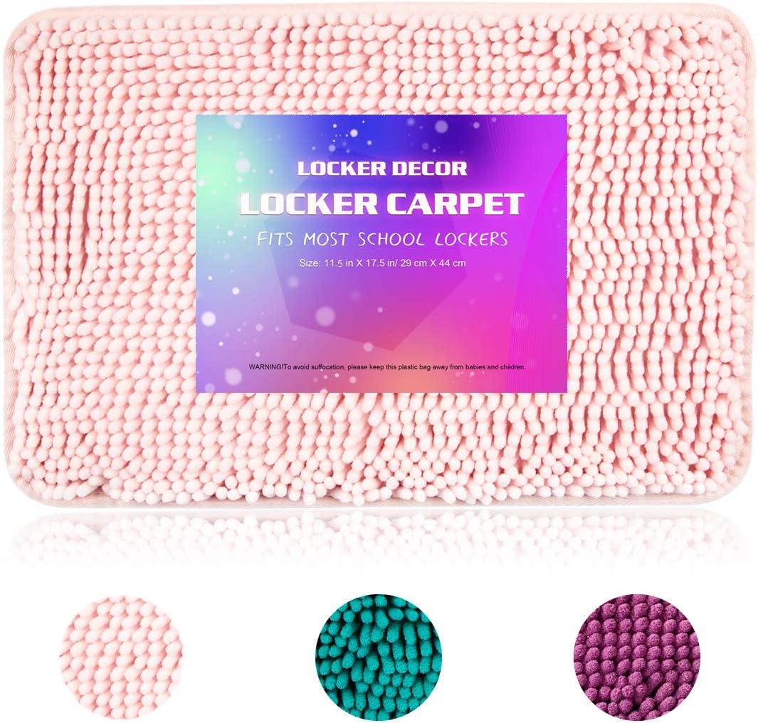 "Locker Rug Locker Carpet for School Locker, 11.5"" x 17.5"" Rectangle Locker Rug with Non Skid Backing Purple Turquoise Pink Decorations Carpet for Locker Decor (Pink)"
