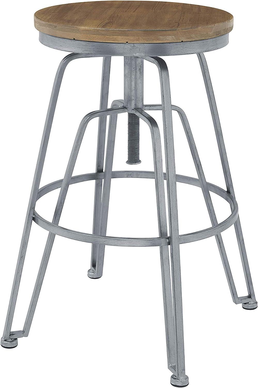 Linon Home Decor Products Linon Banna Silver Wood and Metal Adjustable Stool