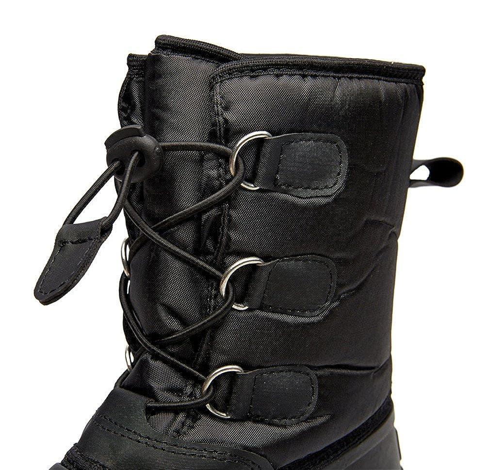 zenicham Boys Girls Cold Weather Waterproof Antiskid Outdoor Shoes Lining Cashmere Snow Boots Black