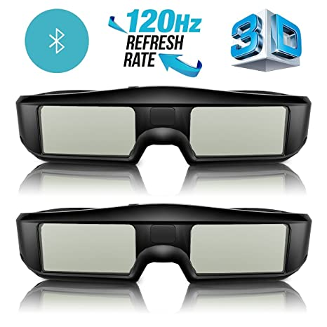 ff148c3c7d4 ExquizOn 3D Glasses 2 Packs 120Hz Active Shutter Rechargeable Lightweight  for All Ultra-Clear Hd
