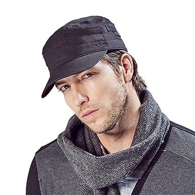 7ed3f715004 Kenmont Washed Military Hat 100% Cotton Cadet Army Cap Flat Top Baseball  Caps (Black)  Amazon.co.uk  Clothing