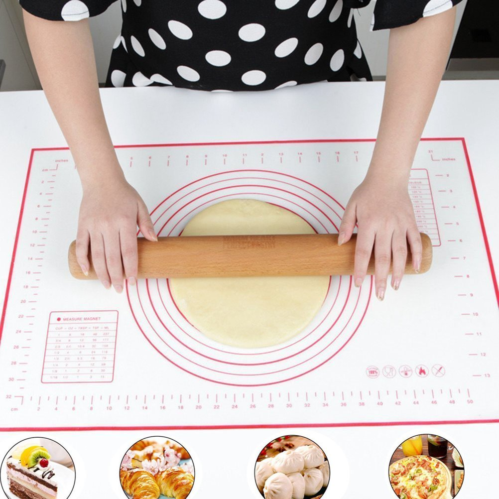 "ZCHING Silicone Pastry Mat with Measurement Not-Slip Rolling Dough Mats for Baking 24"" x 16"" (red)"