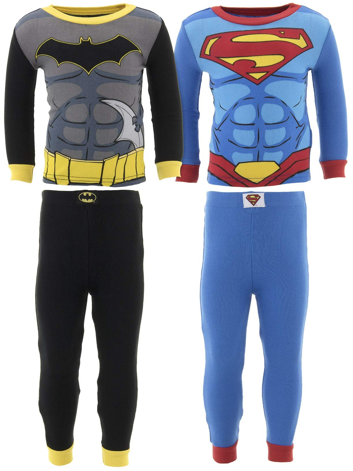DC Comics Little Boys' Batman Superman Cotton 2-Pack Pajamas 4T
