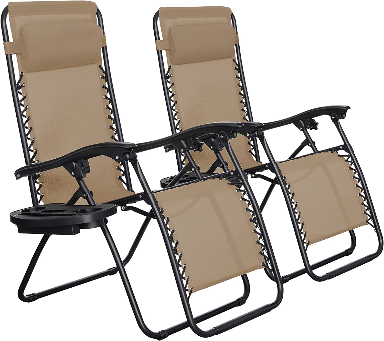 SONGMICS Zero Gravity Chairs, Set of 2 Outdoor Lounge Chairs, Patio Chaise Lounges, Reclining Comfortable Ergonomic Foldable and Lockable, with Headrest and Cup Holder,Beige UGCB001M01