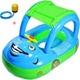 Inflatable Baby Float Seat Boat Beach Car Sun Shade Water Swimming Pool Canopy (Green+Blue) + A Plastic Foot Air Pump Inflator