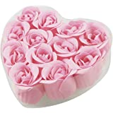 uxcell 12 Pcs Bathing Fuchsia Rose Bud Flower Petal Soap + Heart Shape Box