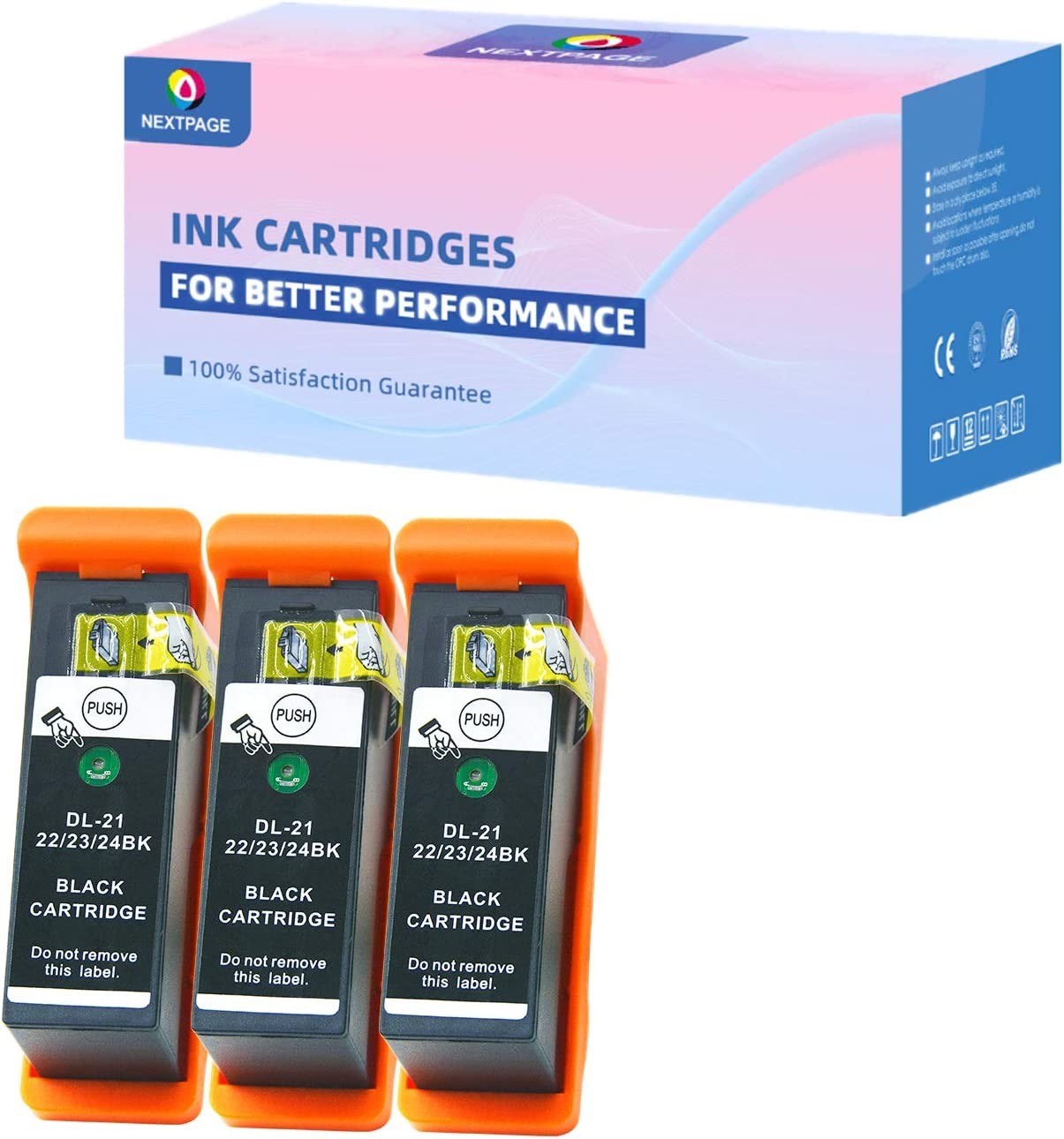 NEXTPAGE Compatible Ink Cartridges Replacement for Dell Series 21, Series 22, Series 23, Series 24 Black Ink Cartridges Compatible for Dell V313 V313W V515W P513W P713W V715W, 3 Pack