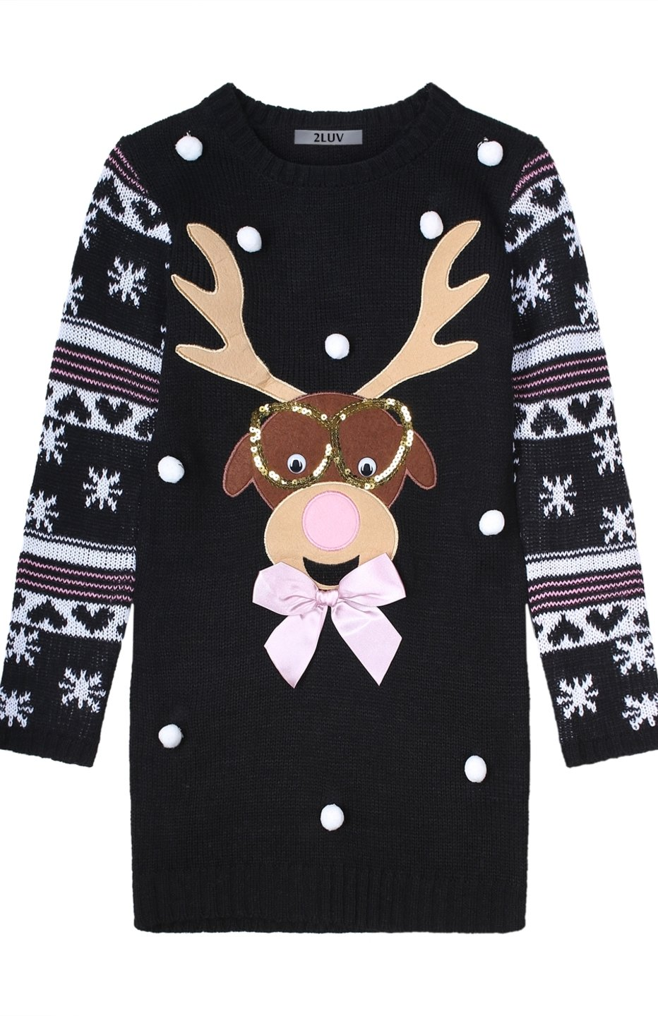 2LUV Girl's Cute Ugly Comfy Christmas Holiday Themed Sweater Black M