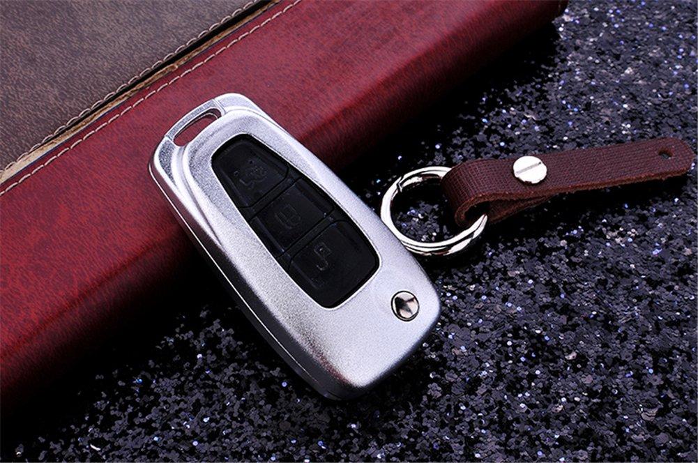 DAYJOYプレミアムアルミ車キーシェルカバーキーチェーン付きフォードフォーカスモンデオEcosport Kugaシリーズ折りたたみ式リモートコントロールスマートキー DAYJOY01150056S B01MQOJH99  A-SILVER