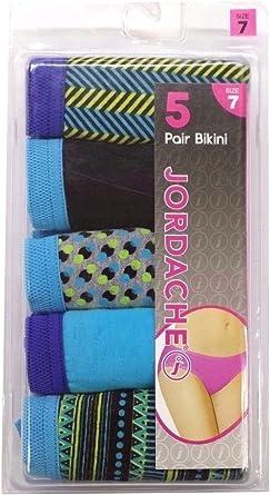 Jordache Womens 5 Cotton Bikinis Panties Pack 6, Assorted 8