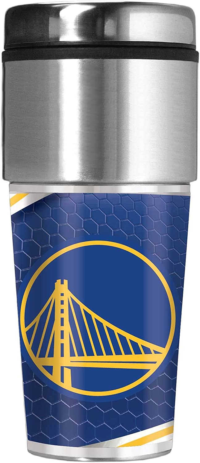 Great American Products Golden State Warriors 16 oz Travel Tumbler with Metallic Honeycomb Design Wrap
