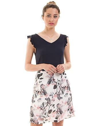 Vila Falda Flores Blanca Vimalik Clothes (Blanco - 40): Amazon.es ...
