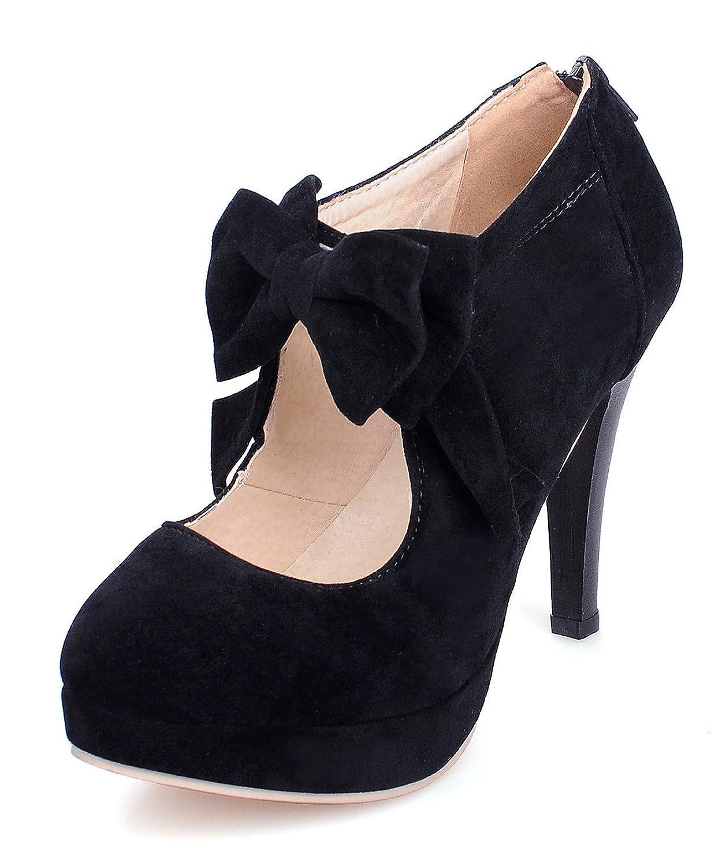 Aisun Women's Comfy Cute Round Toe Cutout Back Zipper Dress Platform Heels High Heel Pumps Shoes With Bows