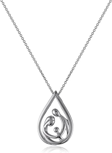 18/'/' CHAIN 15MM BY 10MM 925 STERLING SILVER FAMILY PENDANT NECKLACE