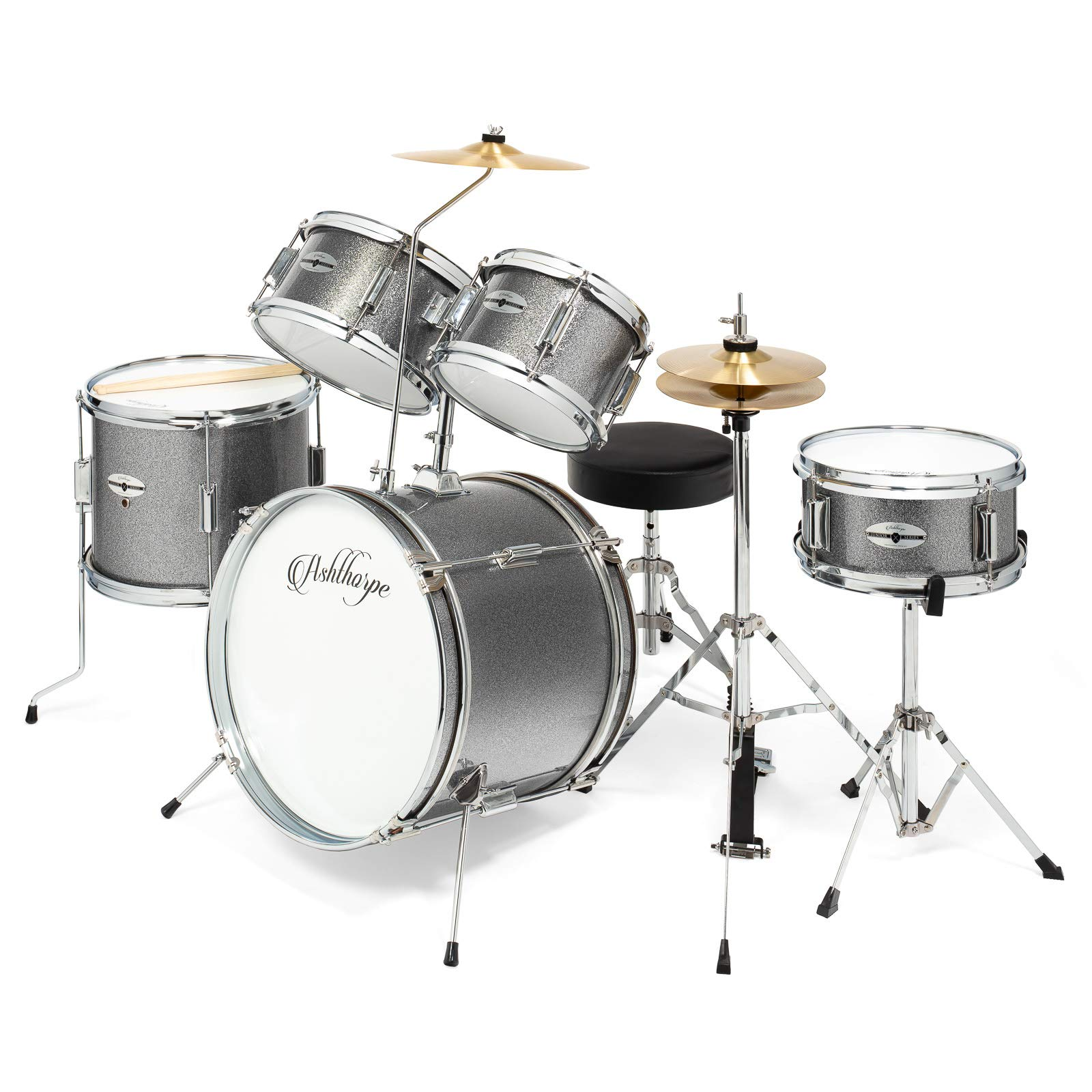 Ashthorpe 5-Piece Complete Kid's Junior Drum Set with Genuine Brass Cymbals - Children's Advanced Beginner Kit with 16'' Bass, Adjustable Throne, Cymbals, Hi-Hats, Pedals & Drumsticks - Silver