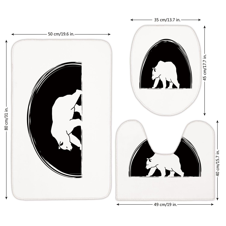 3 Piece Bathroom Mat Set,Animal,Big Polar Bear Walking Side View Furry Creature Arctic Mammal Illustration,Black and White,Bath Mat,Bathroom Carpet Rug,Non-Slip