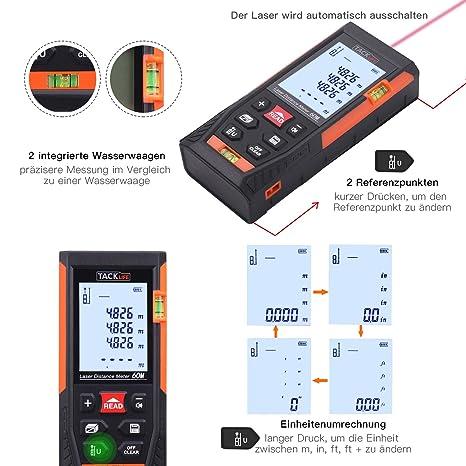 tacklife HD clásico - Telémetro láser Medidor de distancia (Precisión: ± 2 mm con 2 niveles burbujas messinheit M/EN/FT con fondo) Negro de color naranja: ...