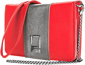 Lencca Kyma Eco Leather Horizontal Crossbody Bag Wallet Purse Clutch for LG G6, G5, Stylus 3, 3 Plus, 2 Plus, V20, V10, Stylo 2 V (Hot Pink, Silver Grey)
