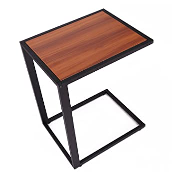 HomCom Modern Wooden Top End / Snack C Table   Black