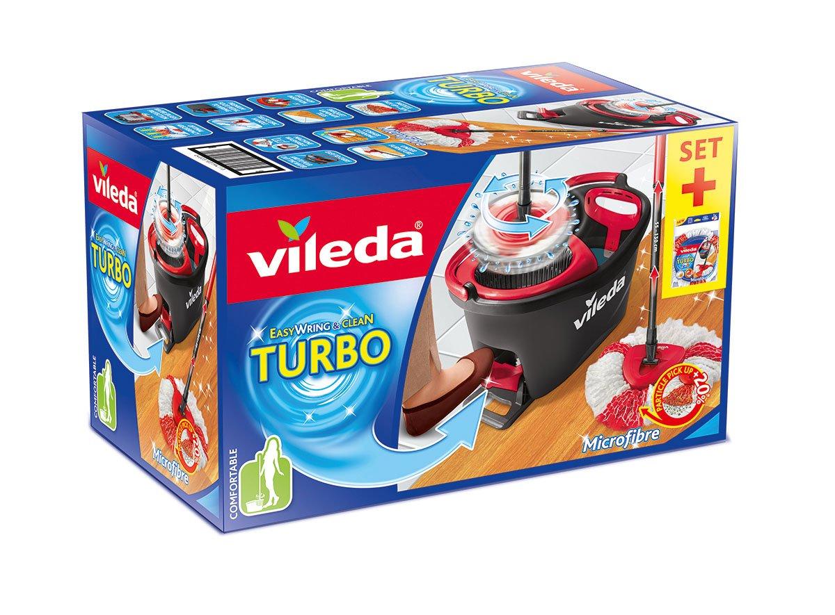 Vileda EASYWORLD Anillo & Clean Juego completo + Turbo Funda para mopa, metal, Rojo/Gris, 48,6 x 29,6 cm: Amazon.es: Hogar