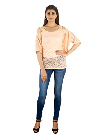 d67080a8151dc STakriti1 Embroidery Net Designer Peach Shoulder Cut Top For Girls Women -  Small