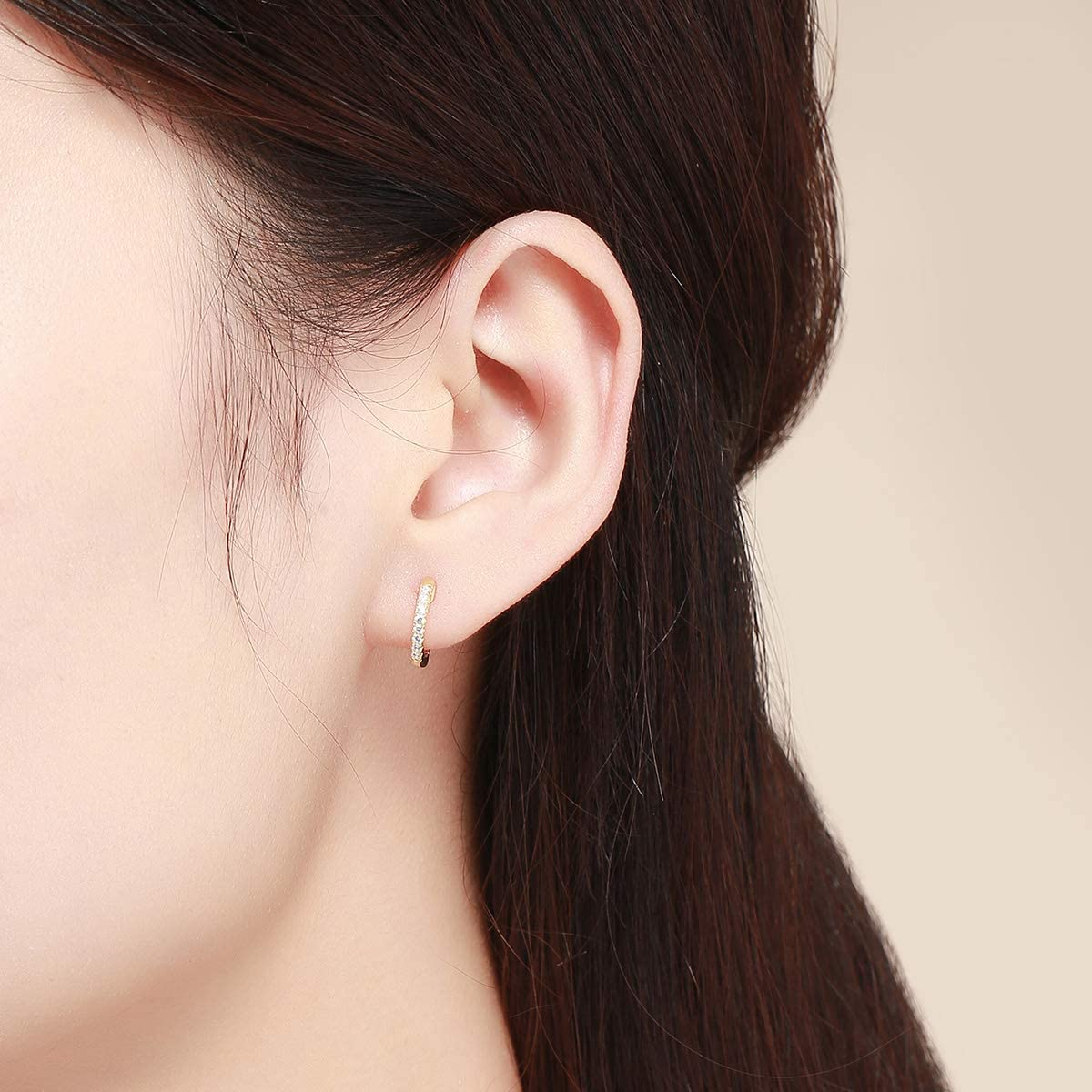 Huggie Hoop Earrings Sterling Silver Rose Gold Plated Ear Cuff Cubic Zirconia Christmas Gift for Women Girls