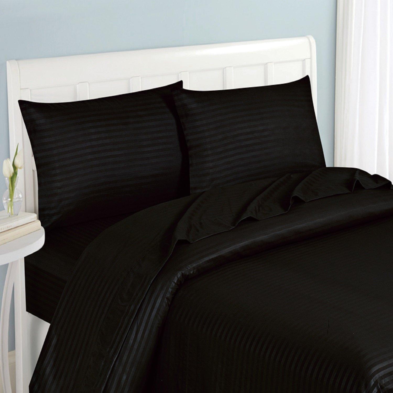 Fashion Street Micro Fiber 4-Piece Striped Sheet Set California King 0024541 Black Landmark Tex Inc