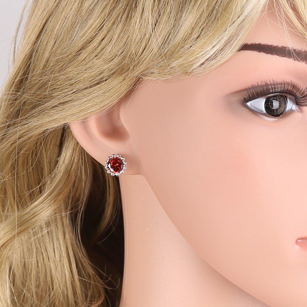 Color Red Zircon CZ Stud Flower Earrings GULICX Silver Tone Ruby