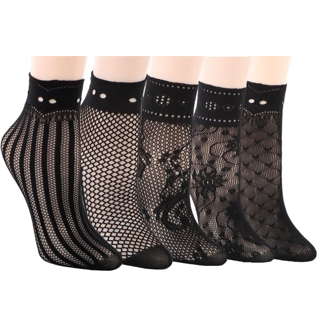 kilofly 5 Pairs Women Ultra Thin Short Ankle Socks Fishnet Lace Liner Stockings FTW525set5