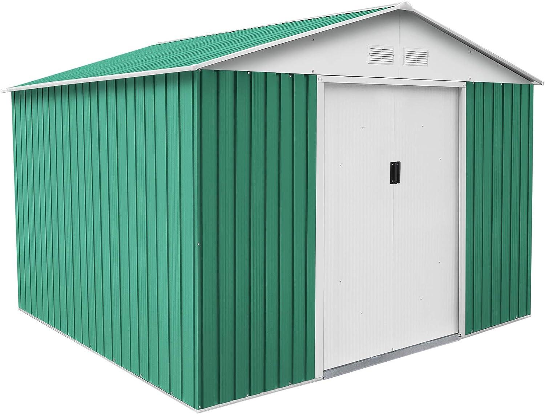 GARDIUN KIS12804 - Caseta Metálica Bristol 7,74 m² Exterior 241x321x205 cm Acero Galvanizado Verde