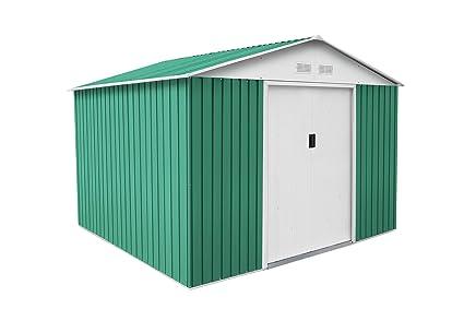 GARDIUN OUTDOOR, S.L.U. KIS12804 - Caseta Metálica Bristol, Acero Galvanizado, 7.74 m², 321 x 241 x 205 cm, Verde: Amazon.es: Bricolaje y herramientas