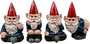 """Ebros 4"""" Tall Badass Naughty Gnome Figurines Collectible Set of 4 Whimsical Dwarf Gnome Decors"""