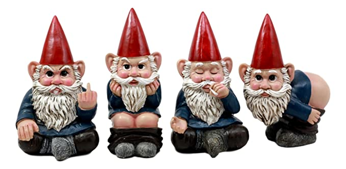 "Ebros 4"" Tall Badass Naughty Gnome Figurines Collectible Set of 4 Whimsical Dwarf Gnome Decors"