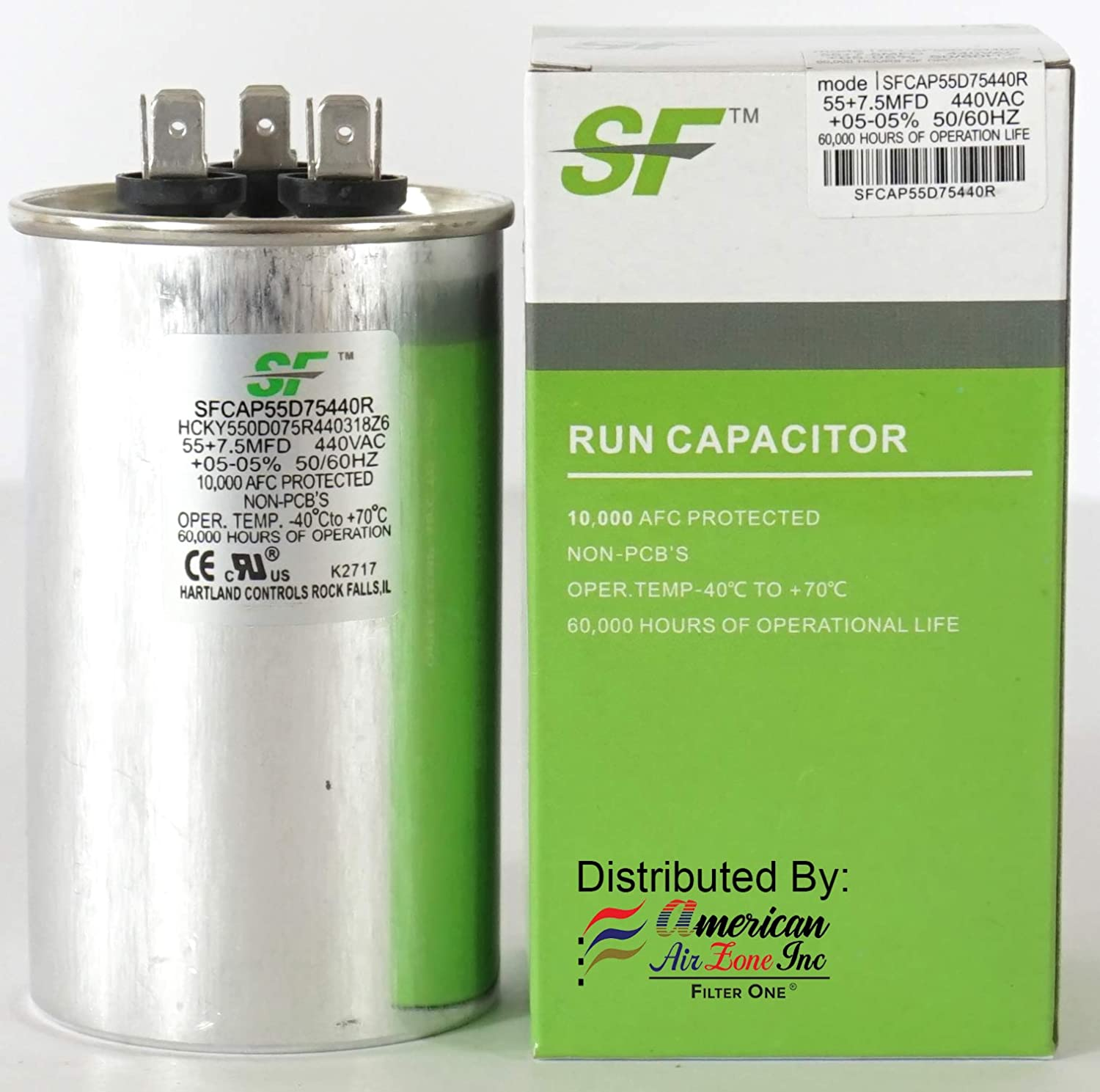 1-Pack Fans or AC Compressors 370//440 Volts Dual Run Capacitor-Round MicroFarad for AC Motors Replaces other Brands Capacitors TRANE SF 60+7.5 MFD /μF