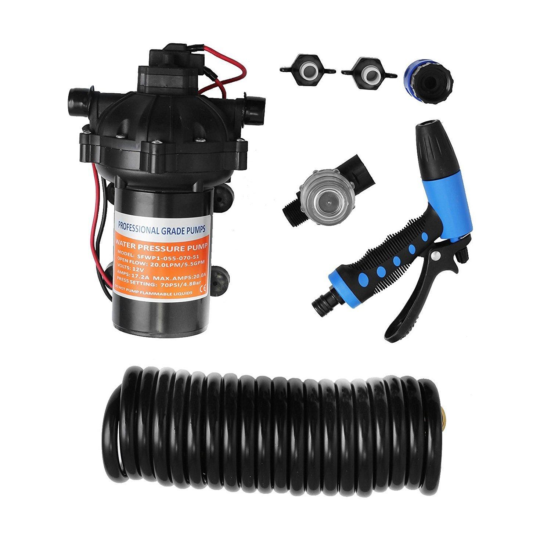 Happybuy Washdown Pump 12V Wash Pump Kit 70 PSI Water Pressure Pump with Automatic Pressure Switch Control (5.5GBM)