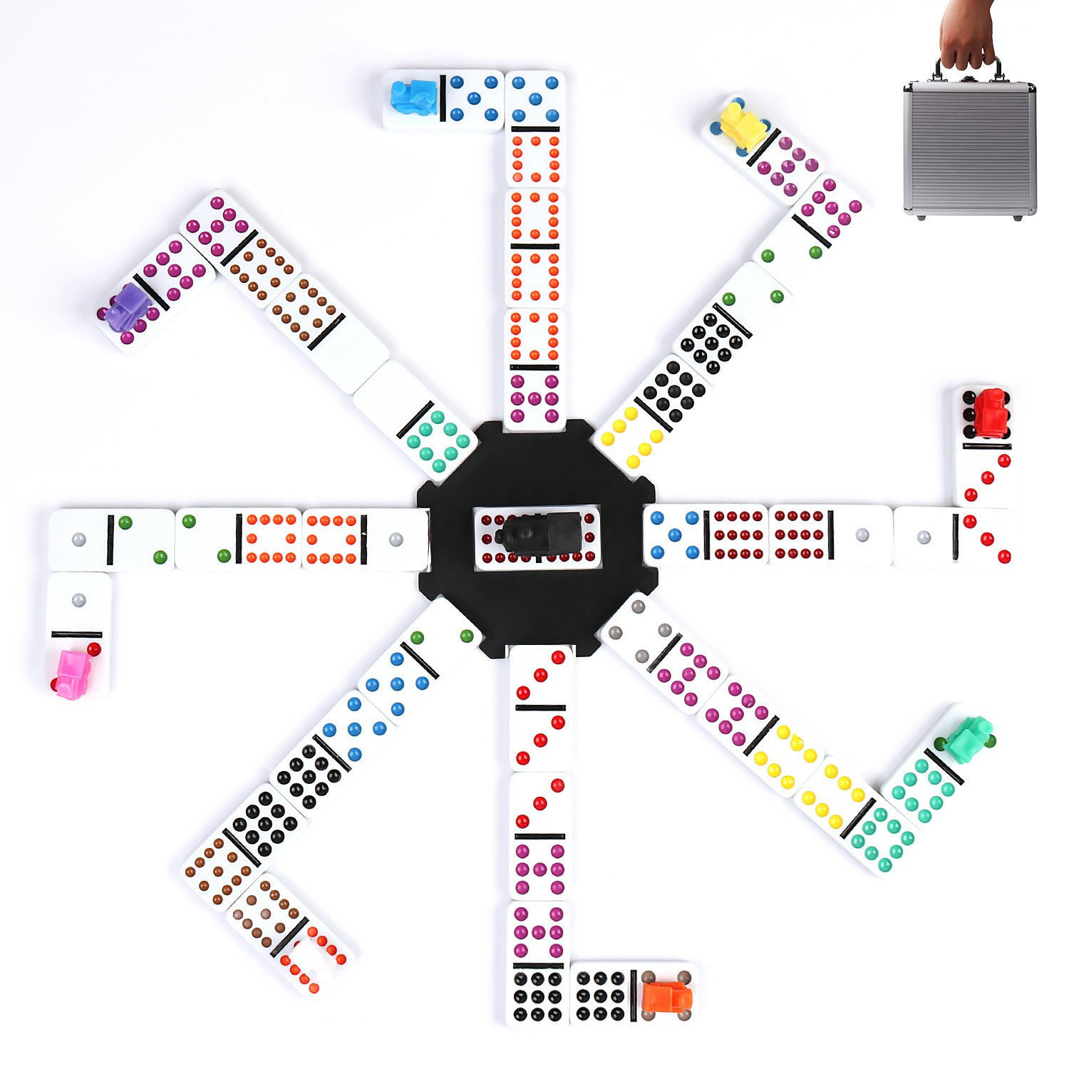 Amazon.com: Mexican Train Dominoes Game, KAILE 91 Tiles Double 12 ...