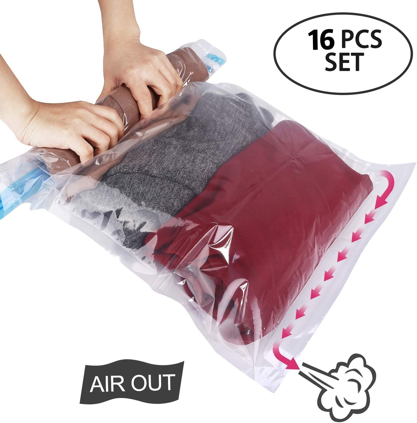 HOMEIDEAS 16 Pack - 24x16 inch - Travel Space Saver Bags, Roll Up Storage Bags, Compression Bags for Travel and Storage - No Vacuum or Pump Needed