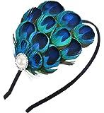 Fascigirl Fascinator Hair Hoop Peacock Feather Haloween Headband for Women