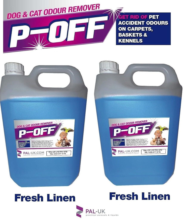 P-Off 2x 5l animal domestique d'urine odeur anti-odeurs–Wee fumée les excréments Poo–frais. PAL-UK