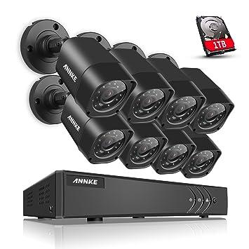 ANNKE 8CH 720P Kit de 8 Cámaras de Seguridad Vigilancia 1080N CCTV IP66 HD DVR H