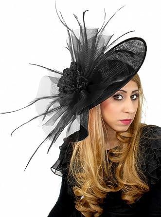 1022b6e7c0621 Magdalena Ascot Fascinator Hat With Headband - Black at Amazon ...